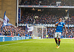 07.04.2018 Rangers v Dundee:<br /> Alfredo Morelos celebrates his goal as he shooshes the Rangers fans in the Govan stand