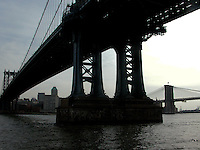 Under Manhatton bridge looking to Brooklyn bridge, east river. Images of New York 2004, New York,U.S.A