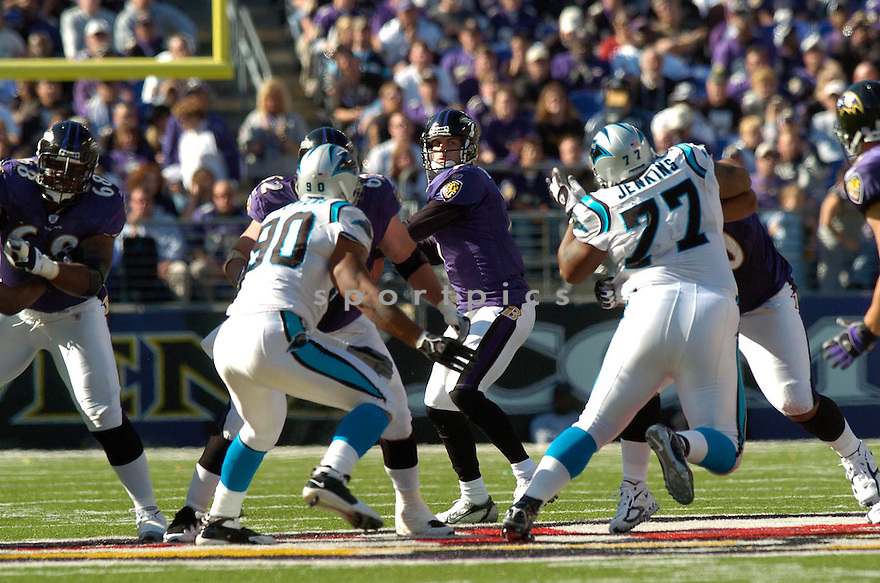 KYLE BOLLER, of the Baltimore Ravens , in action against the Carolina Panthers on October 15, 2006 in Baltimore, MD..Panthers win 23-21..David Durochik / SportPics...