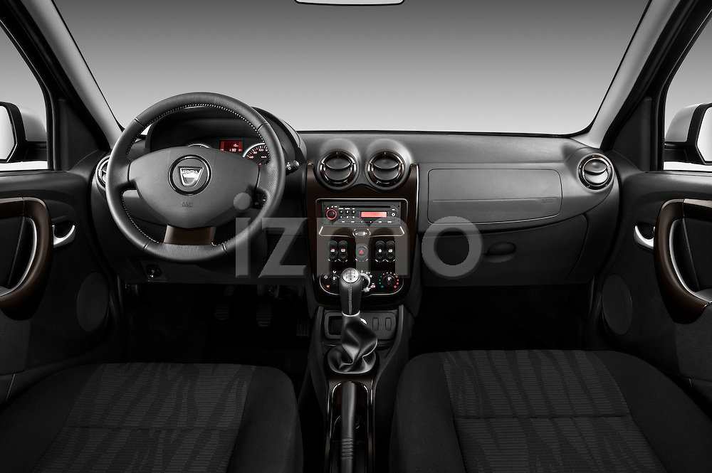 Straight dashboard view of a 2010 Dacia Duster 4 Door SUV.