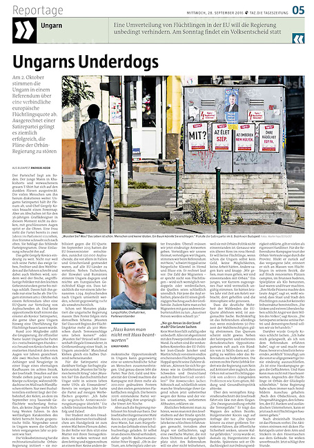 die tageszeitung taz (German daily) on the Hungarian refugee quota referendum, 09.2016. <br />