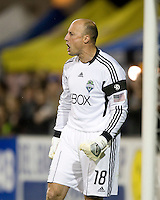 Sounders goalkeeper Kasey Keller yells during the game against Earthquakes at Buck Shaw Stadium in Santa Clara, California on April 2nd, 2011.   San Jose Earthquakes and Seattle Sounders are tied 1-1 at halftime.