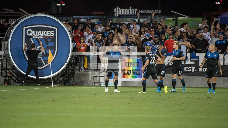 SAN JOSE,  - AUGUST 31: Chris Wondolowski #8 of the San Jose Earthquakes during a game between Orlando City SC and San Jose Earthquakes at Avaya Stadium on September 1, 2019 in San Jose, .