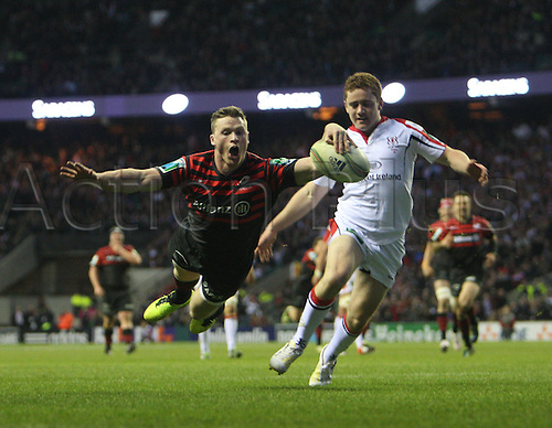 06.04.2013 London, England. Chris Ashton of Saracens goes over  during the Heineken Cup Quarter Final game between Saracens and Ulster from Twickenham.