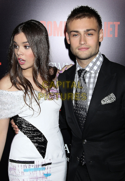 Hailee Steinfeld, Douglas Booth<br /> &quot;Romeo &amp; Juliet&quot; Los Angeles Premiere held at Arclight Cinemas, Hollywood, California, USA.<br /> September 24th, 2013<br /> half length white dress off the shoulder black blue suit shirt grey gray check tie mouth open funny<br /> CAP/ADM/RE<br /> &copy;Russ Elliot/AdMedia/Capital Pictures