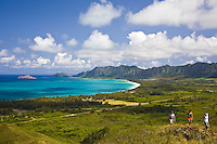 Young hikers on Kaiwa Ridge Trail (Pillbox hike) above Lanikai