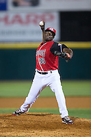 Hickory Crawdads relief pitcher Johan Juan (36) in action against the Lexington Legends at L.P. Frans Stadium on April 29, 2016 in Hickory, North Carolina.  The Crawdads defeated the Legends 6-2.  (Brian Westerholt/Four Seam Images)
