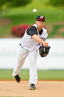 Kannapolis Intimidators starting pitcher Brandon Brennan (33) in action against the Hagerstown Suns at CMC-Northeast Stadium on May 16, 2013 in Kannapolis, North Carolina.  The Suns defeated the Intimidators 10-7.   (Brian Westerholt/Four Seam Images)