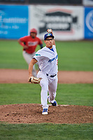 Justin Lewis (33) of the Ogden Raptors delivers a pitch during a game against the Orem Owlz at Lindquist Field on August 4, 2018 in Ogden, Utah. The Owlz defeated the Raptors 15-12. (Stephen Smith/Four Seam Images)