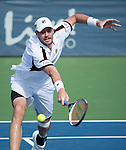 July 22,2016:   John Isner (USA) loses to Steve Johnson (USA) 7-6, 7-6 at the Citi Open being played at Rock Creek Park Tennis Center in Washington, DC, .  ©Leslie Billman/Tennisclix