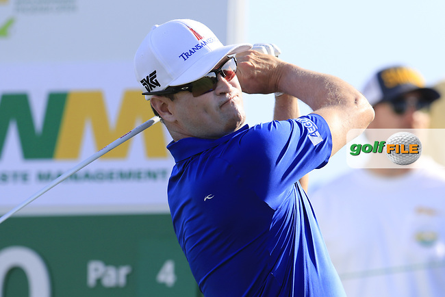 Zach Johnson (USA) tees off the 10th tee to start his match during Sunday's Final Round of the Waste Management Phoenix Open 2018 held on the TPC Scottsdale Stadium Course, Scottsdale, Arizona, USA. 4th February 2018.<br /> Picture: Eoin Clarke | Golffile<br /> <br /> <br /> All photos usage must carry mandatory copyright credit (&copy; Golffile | Eoin Clarke)
