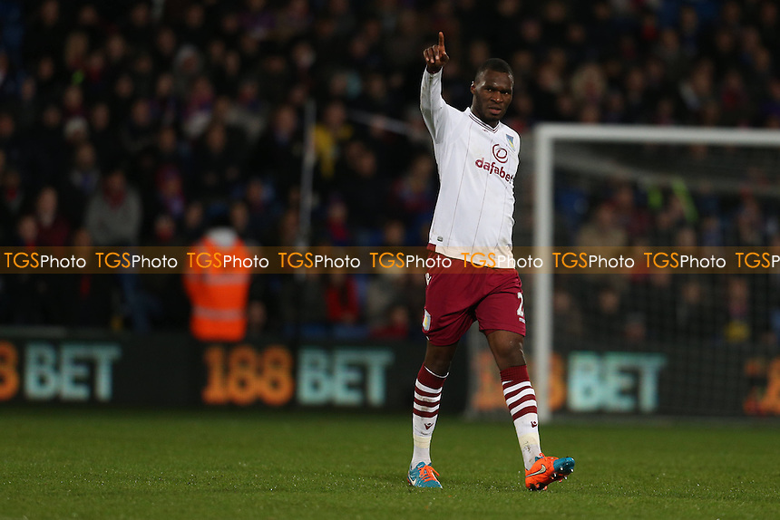 Christian Benteke of Aston Villa acknowledges the away support - Crystal Palace vs Aston Villa - Barclays Premier League Football at Selhurst Park, London - 02/12/14 - MANDATORY CREDIT: Simon Roe/TGSPHOTO - Self billing applies where appropriate - contact@tgsphoto.co.uk - NO UNPAID USE