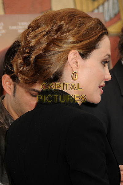 Angelina Jolie.American Cinematheque 69th Annual Golden Globe Awards Foreign-Language Nominee Directors Panel held at the Egyptian Theatre, Hollywood, California, USA, 14th January 2012..portrait headshot hair up black jacket blazer side profile gold hoop earring .CAP/ADM/BP.©Byron Purvis/AdMedia/Capital Pictures.
