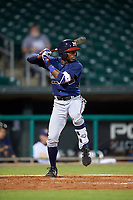 Mississippi Braves second baseman Travis Demeritte (11) at bat during a game against the Montgomery Biscuits on April 24, 2017 at Montgomery Riverwalk Stadium in Montgomery, Alabama.  Montgomery defeated Mississippi 3-2.  (Mike Janes/Four Seam Images)