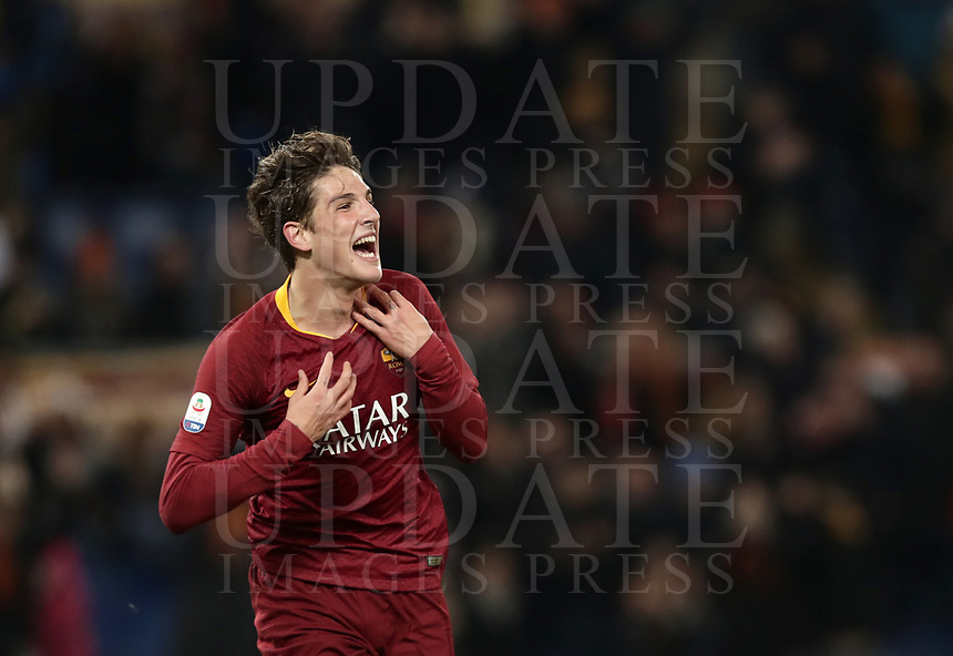 Football, Serie A: AS Roma - US Sassuolo, Olympic stadium, Rome, December 26, 2018. <br /> Roma&rsquo;s Nicol&ograve; Zaniolo celebrates after scoring during the Italian Serie A football match between Roma and Sassuolo at Rome's Olympic stadium, on December 26, 2018.<br /> UPDATE IMAGES PRESS/Isabella Bonotto
