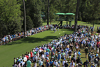 Tiger Woods (USA) and John Rahm (ESP) on the 18th tee during the 1st round at the The Masters , Augusta National, Augusta, Georgia, USA. 11/04/2019.<br /> Picture Fran Caffrey / Golffile.ie<br /> <br /> All photo usage must carry mandatory copyright credit (&copy; Golffile | Fran Caffrey)