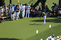 Rickie Fowler (USA) on the 18th tee during the 1st round at the The Masters , Augusta National, Augusta, Georgia, USA. 11/04/2019.<br /> Picture Fran Caffrey / Golffile.ie<br /> <br /> All photo usage must carry mandatory copyright credit (© Golffile | Fran Caffrey)