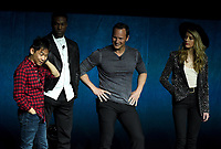 LAS VEGAS, NV - APRIL 24: (L-R) Director James Wan, actors Yahya Abdul-Mateen II, Patrick Wilson, and Amber Heard onstage during the Warner Bros. Pictures presentation at CinemaCon 2018 at The Colosseum at Caesars Palace on April 24, 2018 in Las Vegas, Nevada. (Photo by Frank Micelotta/PictureGroup)