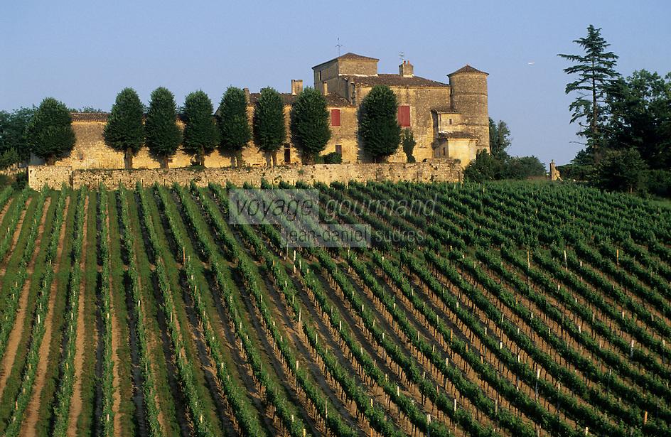 Europe/France/Aquitaine/33/Gironde/Quinsac: Le vignoble et le Château (AOC Premières côtes de Bordeaux)
