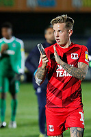 Jordan Maguire-Drew of Leyton Orient applauds fans during the The Leasing.com Trophy match between AFC Wimbledon and Leyton Orient at the Cherry Red Records Stadium, Kingston, England on 8 October 2019. Photo by Carlton Myrie / PRiME Media Images.