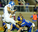 BROOKINGS, SD - SEPTEMBER 10:  Cody Hazelett #12 from South Dakota State blocks the punt of Josh Lee #14 from Drake and is returned for a touchdown during their game at the Dana J. Dykhouse Stadium Saturday night in Brookings. (Photo by Dave Eggen/Inertia)
