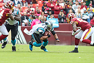 Landover, MD - October 14, 2018: Carolina Panthers quarterback Cam Newton (1) dives for a few yards during the  game between Carolina Panthers and Washington Redskins at FedEx Field in Landover, MD.   (Photo by Elliott Brown/Media Images International)