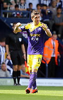 Pictured: Pablo Hernandez of Swansea celebrating his goal.<br />