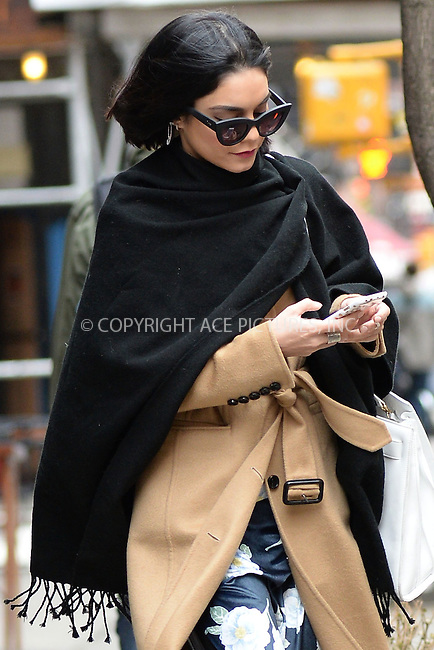 WWW.ACEPIXS.COM<br /> April 8, 2015 New York City<br /> <br /> Vanessa Hudgens is seen leaving her apartment on the opening day of the Broadway play 'Gigi' in New York City on April 8, 2015.<br /> <br /> By Line: Kristin Callahan/ACE Pictures<br /> ACE Pictures, Inc.<br /> tel: 646 769 0430<br /> Email: info@acepixs.com<br /> www.acepixs.com