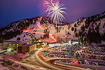 New years eve torchlight parade and fireworks at Alta ski area.