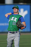 Outfielder Bubba Starling (11) of the Lexington Legends before a game against the Greenville Drive on Monday, July 22, 2013, at Fluor Field at the West End in Greenville, South Carolina. Starling is the No. 2 prospect of the Kansas City Royals and was the No. 5 overall pick in the first round of the 2011 First-year Player Draft. Lexington won, 7-3. (Tom Priddy/Four Seam Images)