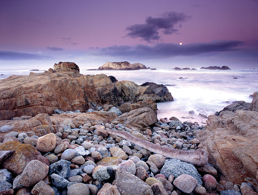 Sunset along the coast of Pebble Beach.