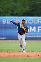 Montgomery Biscuits shortstop Lucius Fox (1) throws to first base during a Southern League game against the Biloxi Shuckers on May 8, 2019 at MGM Park in Biloxi, Mississippi.  Biloxi defeated Montgomery 4-2.  (Mike Janes/Four Seam Images)