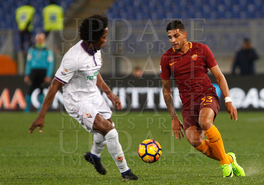 Calcio, Serie A: Roma vs Fiorentina. Roma, stadio Olimpico, 7 febbraio 2017.<br /> Roma's Emerson Palmieri, right, is challenged by Fiorentina's Carlos Sanchez during the Italian Serie A soccer match between Roma and Fiorentina at Rome's Olympic stadium, 7 February 2017.<br /> UPDATE IMAGES PRESS/Riccardo De Luca