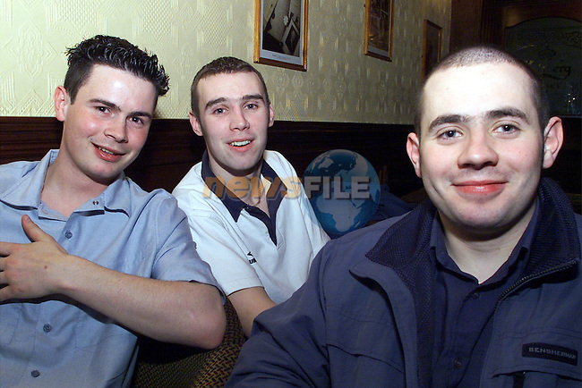 Kieran Coyle, Neil McKenny and Alan Reid, Ardee, pictured enjoying a night in the Auberge, Ardee..pic:Arthur Carron/ Newsfile