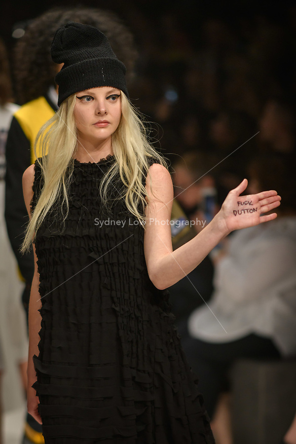 Melbourne, September 7, 2018 - A model wearing clothing from retailer Left walks at the Town Hall Closing Runway show in Melbourne Fashion Week in Melbourne, Australia. Photo Sydney Low