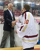 ?, Chris Venti - The Boston College Eagles defeated the visiting Northeastern University Huskies 3-0 after a banner-raising ceremony for BC's 2012 national championship on Saturday, October 20, 2012, at Kelley Rink in Conte Forum in Chestnut Hill, Massachusetts.