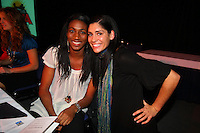 14 December 2007: Stanford Cardinal First-Team All-Americans Foluke Akinradewo (left), 2007 AVCA Division I National Player of the Year, and Cynthia Barboza (right) during Stanford's 2007 American Volleyball Coaches Association (AVCA) Division I All-America/Player of the Year Banquet at the Sacramento Convention Center in Sacramento, CA.