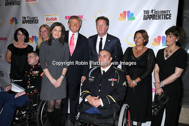 "Erin Burnett, Donald Trump, Piers Morgan and LCPL Matt .Bradford and CPL Shane Parsons in wheel chair.at ""The Celebrity Apprentice"" after party for the March 27th, 2008 Finale sponsored by Vera Wang by Serta, Redbook and Kodak at The Rock Center Cafe in Rockefeller Center in New York City...Robin Platzer, Twin Images"