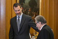 King Felipe VI of Spain and San Fernando Fine Arts academy director FERNANDO DE TERAN TROYANO during Royal Audiences at Zarzuela Palace in Madrid, Spain. January 27, 2015. (ALTERPHOTOS/Victor Blanco) /nortephoto.com<br /> nortephoto.com