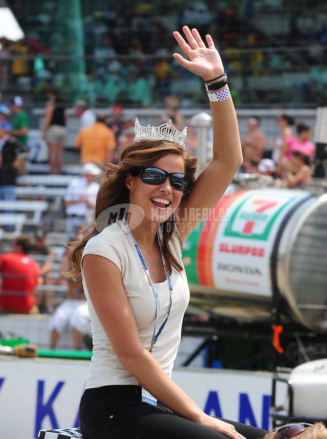 May 24, 2009; Indianapolis, IN, USA; Katie Stam the 2009 Miss America waves to the crowd prior to the 93rd running of the Indianapolis 500 at Indianapolis Motor Speedway.  Mandatory Credit: Mark J. Rebilas-