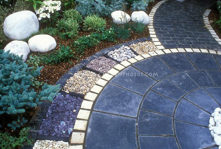 Bluestone Paver Patio With White Stone Pavers, With Various Stone Mulch  Ornamentation 37714