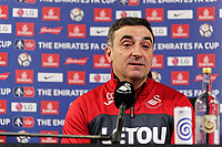 Manager Carlos Carvalhal speaks to members of the press during the Swansea City Training and Press Conference at The Fairwood Training Ground, Swansea, Wales, UK. Thursday 25 January 2018
