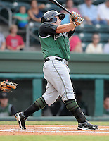 Infielder Joel Weeks (15) of the Augusta GreenJackets, Class A affiliate of the San Francisco Giants, in a game against the Greenville Drive on August 27, 2011, at Fluor Field at the West End in Greenville, South Carolina. Greenville defeated Augusta, 10-4. (Tom Priddy/Four Seam Images)