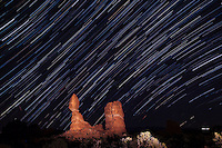 Star trails above balanced Rock, Arches National Park Utah