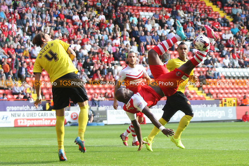 Andre Bikey of Charlton Athletic has a spectacular overhead kick go horribly wrong - Charlton Athletic vs Watford - Sky Bet Championship Football at the Valley, Charlton, London - 13/09/14 - MANDATORY CREDIT: George Phillipou/TGSPHOTO - Self billing applies where appropriate - contact@tgsphoto.co.uk - NO UNPAID USE