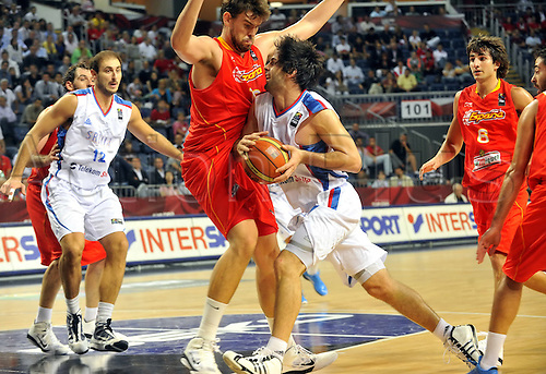 Sep 08, 2010; Istanbul, TURKEY; Serbia defeats Spain 92:89 in a quarterfinal match of the 2010 FIBA World Championship at the Abdi Ipekci Arena. Marc Gasol of Spain.