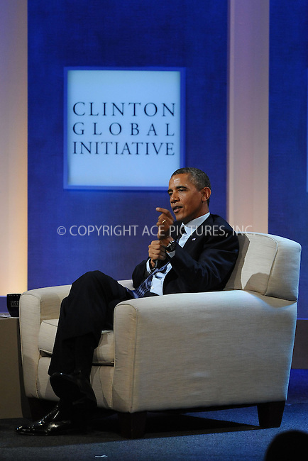 WWW.ACEPIXS.COM<br /> September 24, 2013 New York City<br /> <br /> U.S. President Barack Obama on stage during the annual Clinton Global Initiative (CGI) meeting on September 24, 2013 in New York City.<br /> <br /> By Line: Kristin Callahan/ACE Pictures<br /> <br /> ACE Pictures, Inc.<br /> tel: 646 769 0430<br /> Email: info@acepixs.com<br /> www.acepixs.com<br /> <br /> Copyright: Kristin Callahan/ACE Pictures