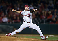 NWA Democrat-Gazette/BEN GOFF @NWABENGOFF<br /> Kole Ramage pitches for Arkansas in the 7th inning vs LSU Thursday, May 9, 2019, at Baum-Walker Stadium in Fayetteville.
