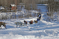 Saturday, February 24th, Knik, Alaska.  Jr. Iditarod musherIlsa Schwarzburg on the trail shortly after leaving the Knik start