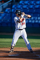 Great Falls Voyagers Ty Greene (24) at bat during a Pioneer League game against the Missoula Osprey at Centene Stadium at Legion Park on August 19, 2019 in Great Falls, Montana. Missoula defeated Great Falls 4-1 in the first game of a doubleheader. Games were moved from Missoula after Ogren Park at Allegiance Field, the Osprey's home field, was ruled unplayable. (Zachary Lucy/Four Seam Images)
